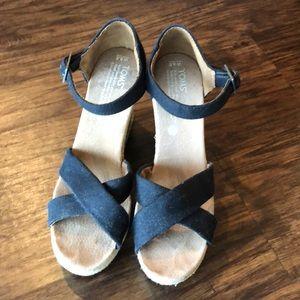 Tom's Black Wedge Heels, size 8.5